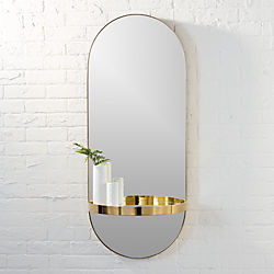 caplet oval mirror with shelf