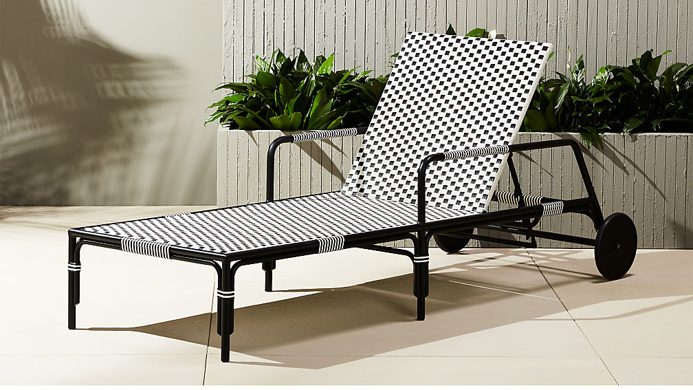 Caprice resin wicker chaise lounge chair cb2 for Black metal chaise lounge outdoor