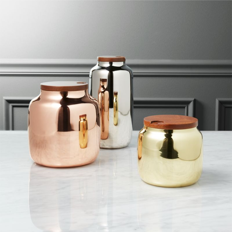 3 Piece Capsule Metal Kitchen Canisters | CB2