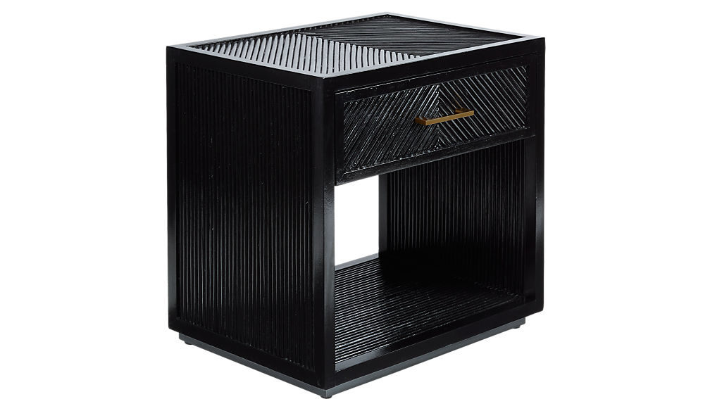 Carlo Black Wood Nightstand