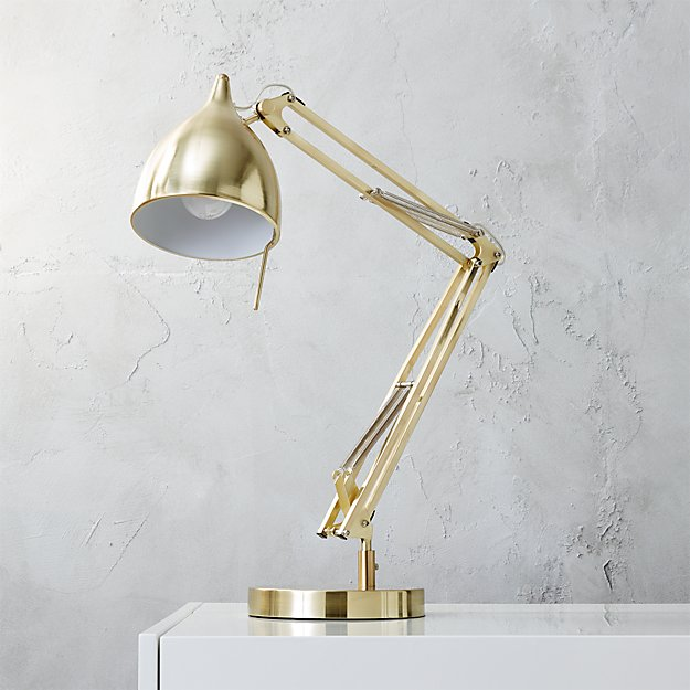 Carpenter brushed brass table lamp cb2 for Cb2 disk floor lamp