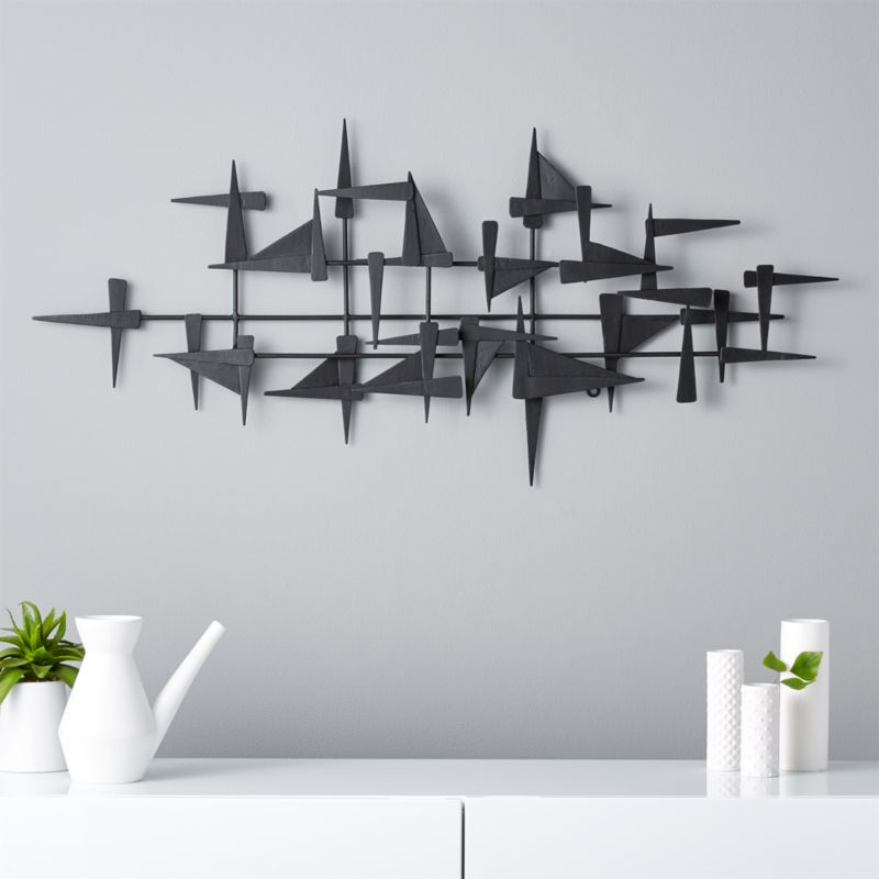 Decorative Metal Wall Shelves modern wall decor: wall hangings and shelves | cb2