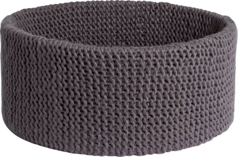 """<span class=""""copyHeader"""">knitting circle.</span> Chunky handwoven crochet round nests clothes, towels, blankets, toys. Dark grey basket cozies up with enough depth to conceal clutter.<br /><br /><NEWTAG/><ul><li>Handwoven crochet</li><li>100% acrylic</li><li>Hand wash in cold water, air dry</li></ul><br />"""