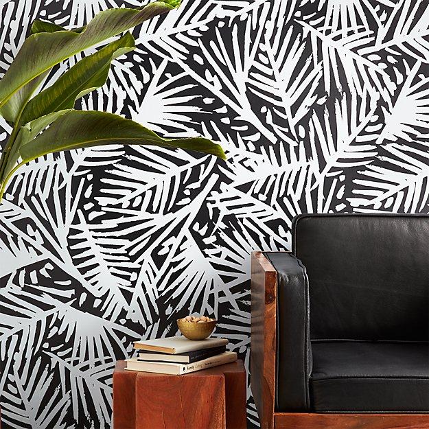 Caymen Black And White Palm Wallpaper CB - Wallpaper for walls black and white