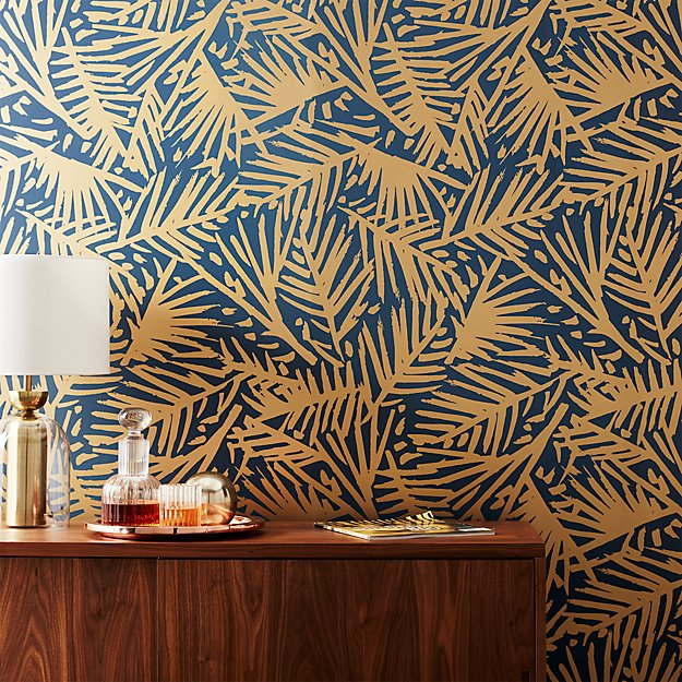 caymen navy and gold palm traditional paste wallpaper