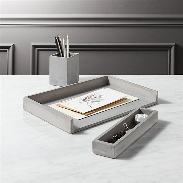 cement desk accessories
