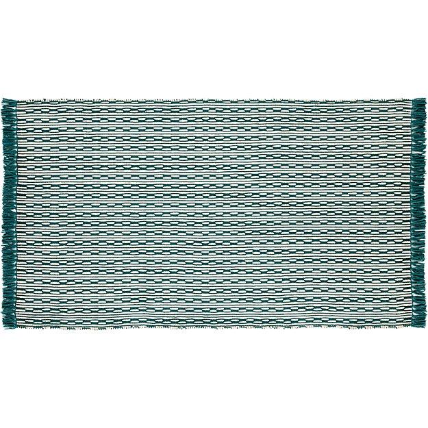 centipede blue-green natural wool rug 5'x8'