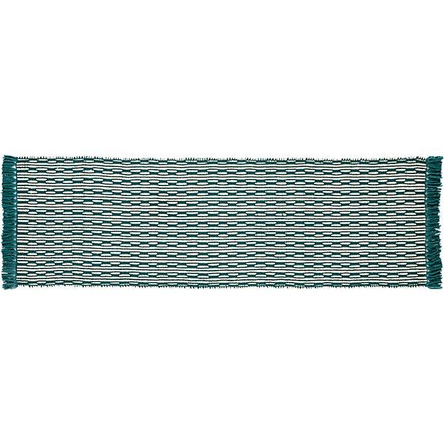 centipede blue-green natural wool runner 2.5'x8'