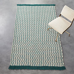 centipede blue-green natural wool rug