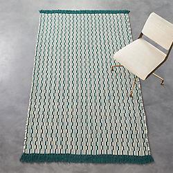centipede blue-green natural wool rug