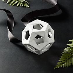 Ceramic Matte White Open Ball Ornament-Bowl Filler
