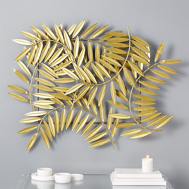 Metal Leaves Wall Decor ceres gold leaves wall decor | cb2