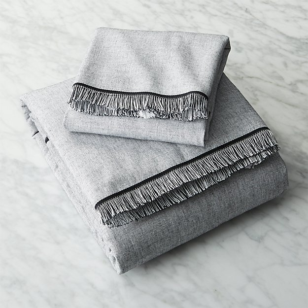 Bath Towel Sets Black And White: Chambray Black And White Bath Towels