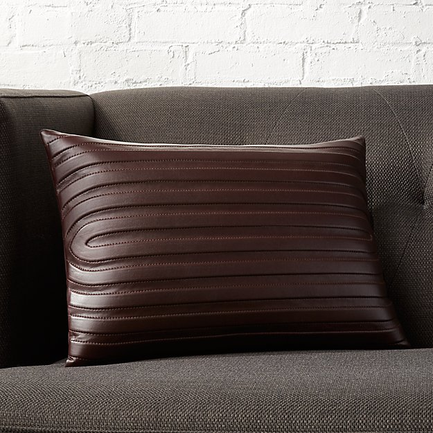 "18""x12"" Channel Dark Brown Leather Pillow with Feather-Down Insert"