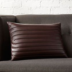 "18""x12"" Channel Dark Brown Leather Pillow with Down-Alternative Insert"