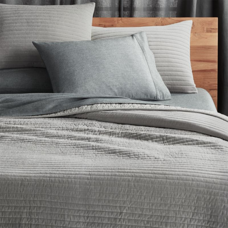 Channeled Grey Velvet Bedding