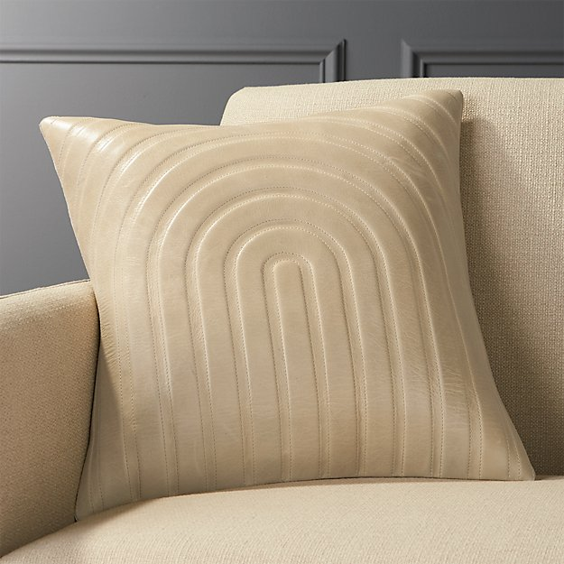 "18"" Channel Beige Leather Pillow with Feather-Down Insert"