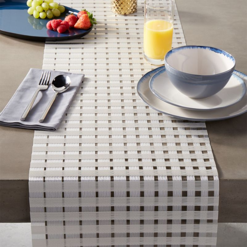Chilewich open weave table runner reviews cb2 for Glass table placemats