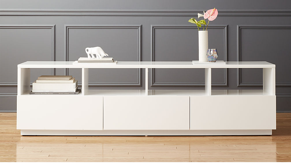 Chill large white media console cb2 White media console
