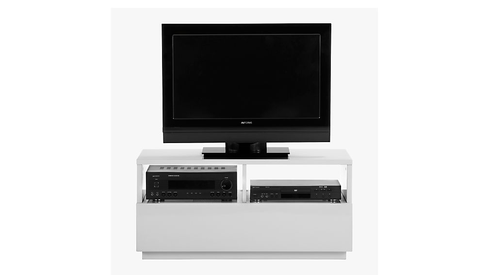 chill white mini media console reviews cb2. Black Bedroom Furniture Sets. Home Design Ideas