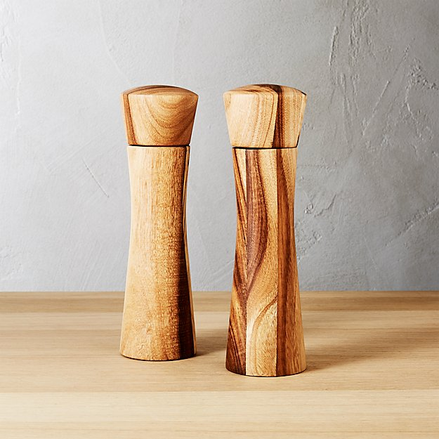 set of 2 cinch acacia short salt-pepper mills