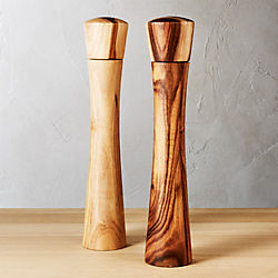 set of 2 cinch acacia tall salt-pepper mill set