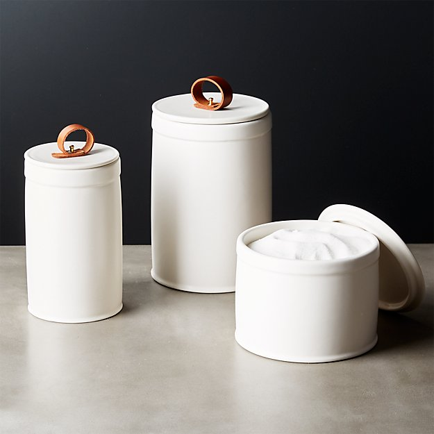 clasp white ceramic canisters cb2