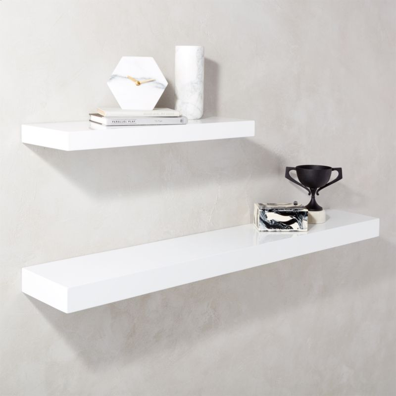 white wall shelf calvin hi gloss white floating shelves cb2 11470
