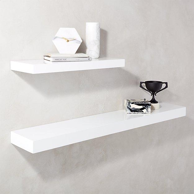 calvin hi gloss white floating shelves cb2. Black Bedroom Furniture Sets. Home Design Ideas