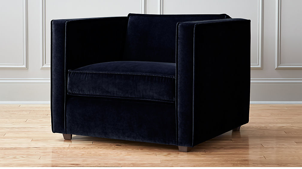indigo blue velvet club chair reviews cb2. Black Bedroom Furniture Sets. Home Design Ideas