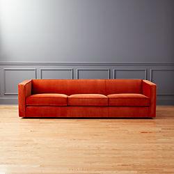 Club 3 Seater Rust Velvet Sofa