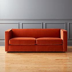 club rust velvet sofa - Orange Sofa