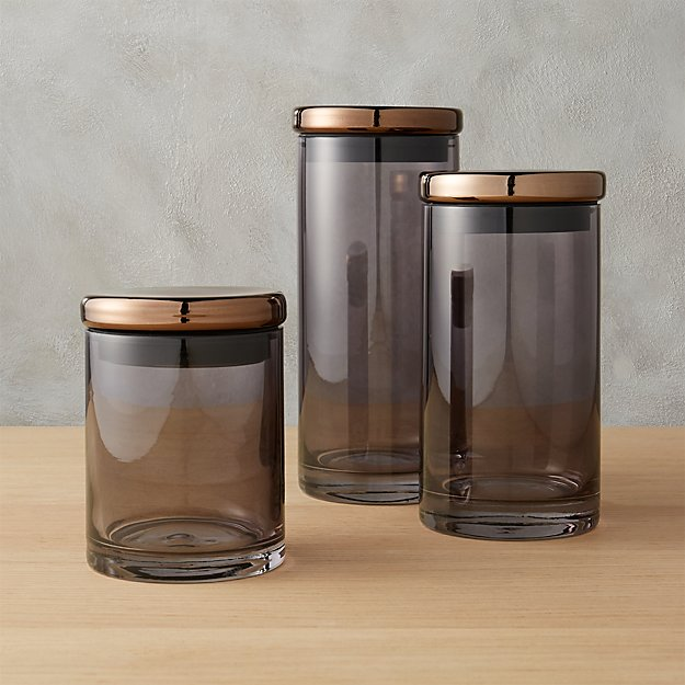 3-piece coltrane smoke grey canisters