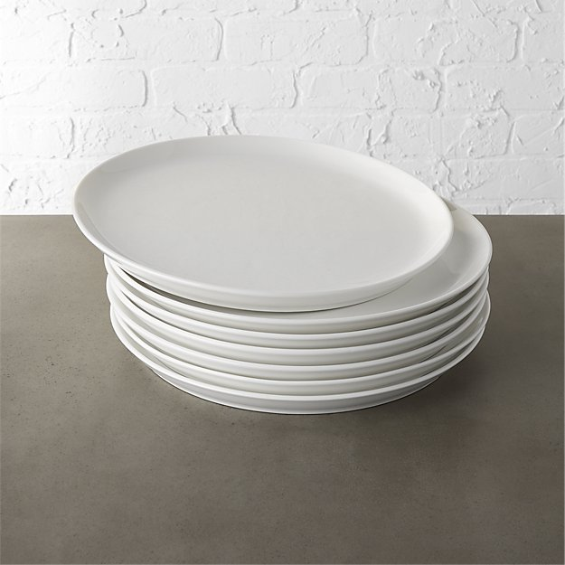set of 8 contact white dinner plates
