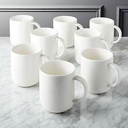 Contact Bone China White Mugs Set of 8