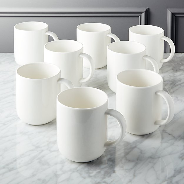 Contact Bone China White Mugs Set Of 8 Reviews Cb2