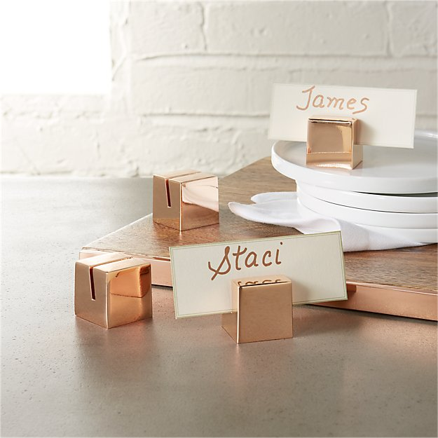 set of 4 copper place card holders