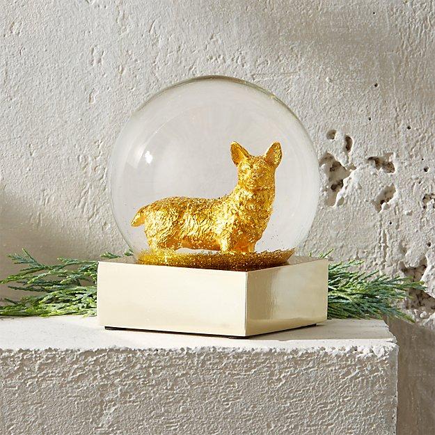 Corgi Gold Snowglobe