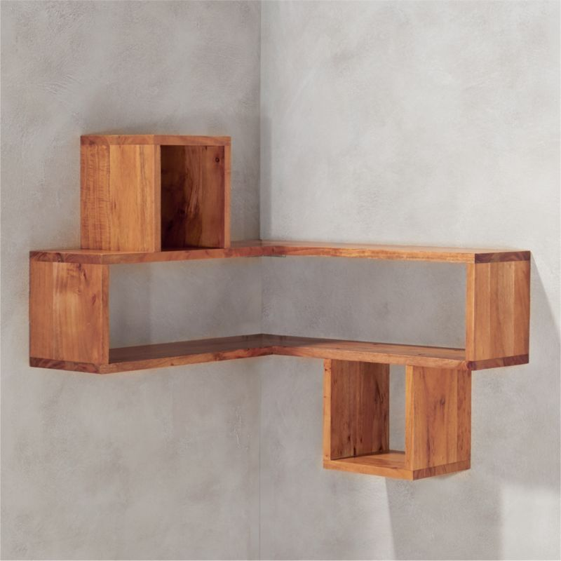 Corner Shel Corner Block Wood Shelf  Cb2