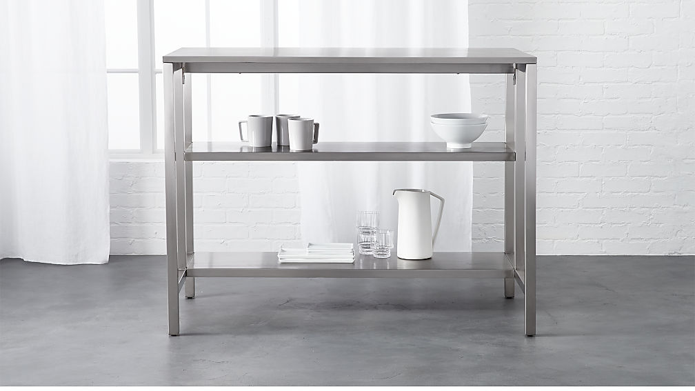 coterie stainless steel kitchen cart | CB2