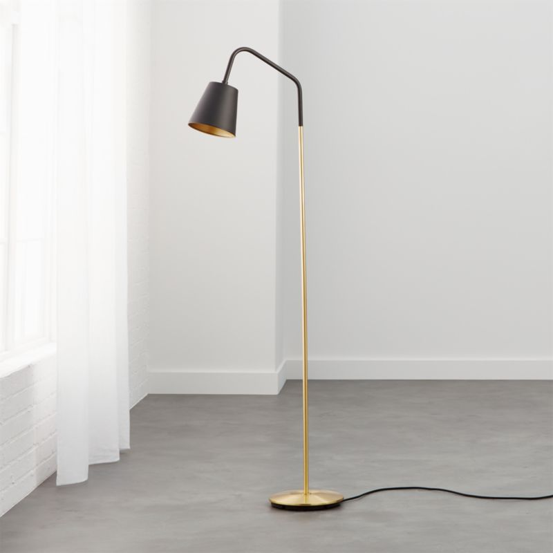 Modern black floor lamps cb2 crane floor lamp aloadofball Choice Image