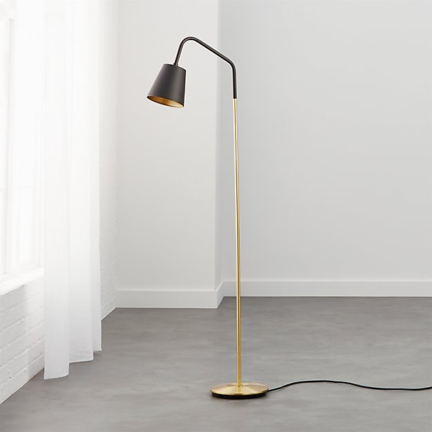 crane black shade floor lamp in floor lamps + Reviews | CB2