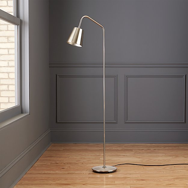 Crane nickel floor lamp cb2 for Cb2 disk floor lamp