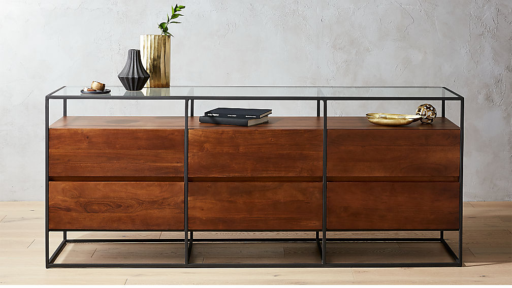Crawford Low Glass Top Dresser Reviews Cb2