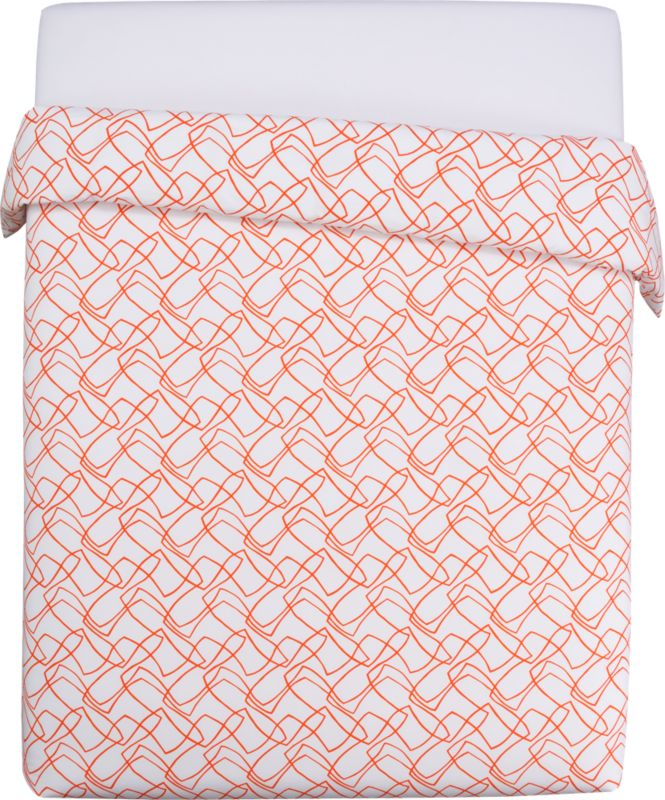 "<span class=""copyHeader"">chat line.</span> Chicago-based designer Noël Ashby gets the conversation started with a graphic tangle of bold orange lines on brite white 200-thread-count organic cotton. Ashby translated the rhythmic hum and pulse of conversation into an expressive abstraction of nonstop chatter, the words disappearing into a network of visual noise. Duvet has nonslip corner ties and hidden button closure.<br /><br /><NEWTAG/><ul><li>Designed by Noël Ashby</li><li>100% organic cotton percale</li><li>200 thread count</li><li>Duvet has nonslip corner ties and hidden button closure</li><li>Reverses to matching pattern</li><li>Machine wash</li></ul>"