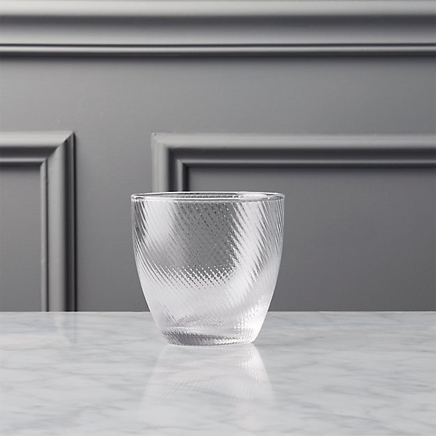 crimp double old-fashioned glass
