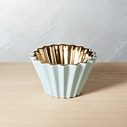 Crinkle Mint Green and Gold Bowl