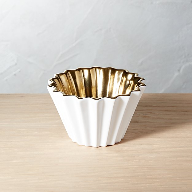 Crinkle White and Gold Bowl