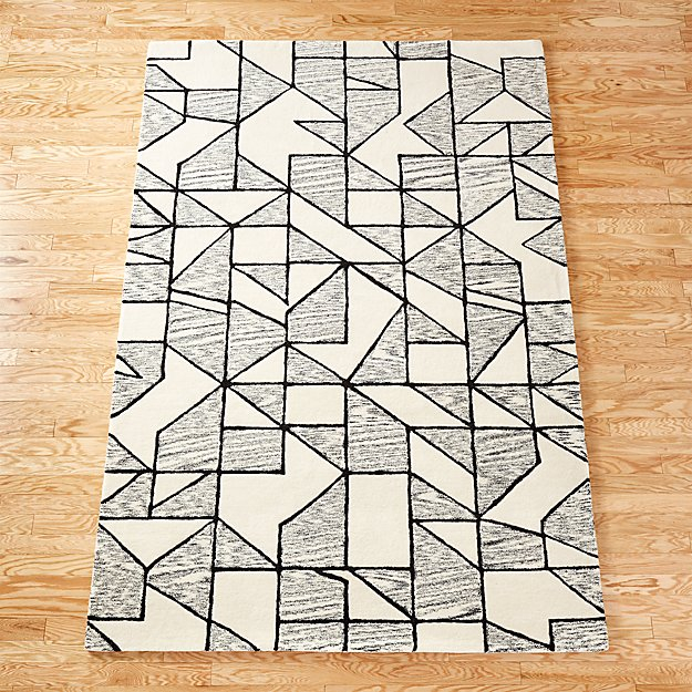 Crisp Black And White Rug 9 X12 In Rugs Reviews Cb2