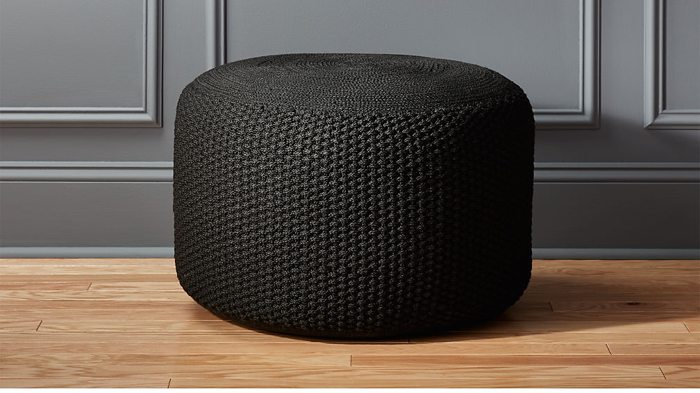 criss knit black pouf